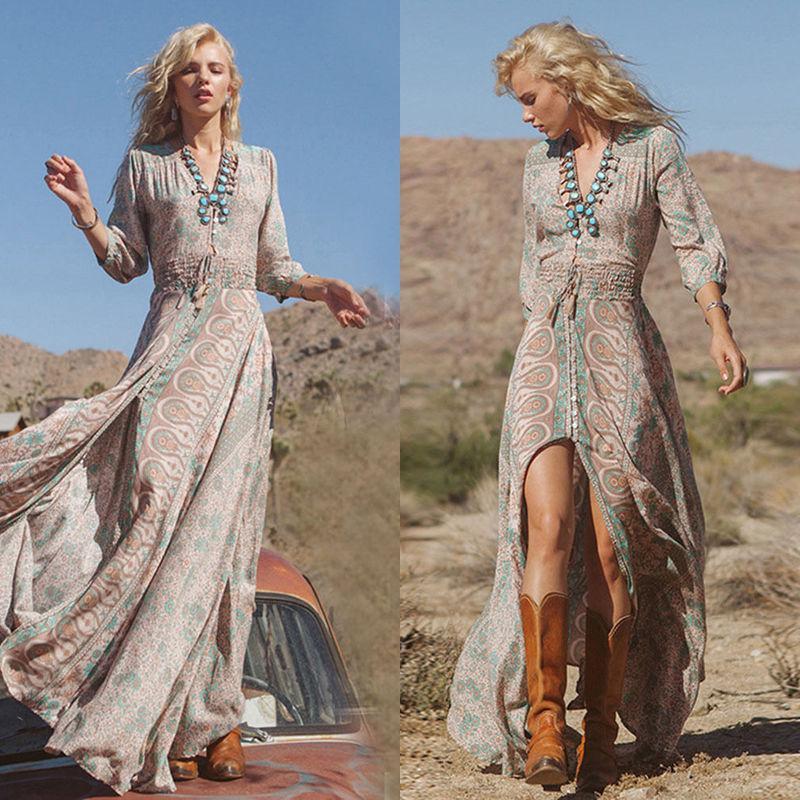 6b7430e800 Women Summer Boho Chiffon Party Evening Beach Dresses Long Maxi Dress  Sundress I