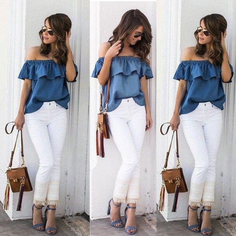 2ae6c525458 US Women s Sexy Summer Off Shoulder Tops Casual Party Shirt Cotton Denim  Blouse