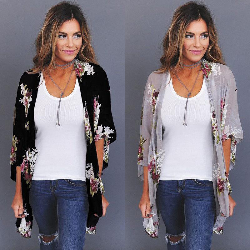 8907860427f US STOCK New Women Floral Loose Kimono Cardigan Boho Chiffon Coat Jacket  Blouse