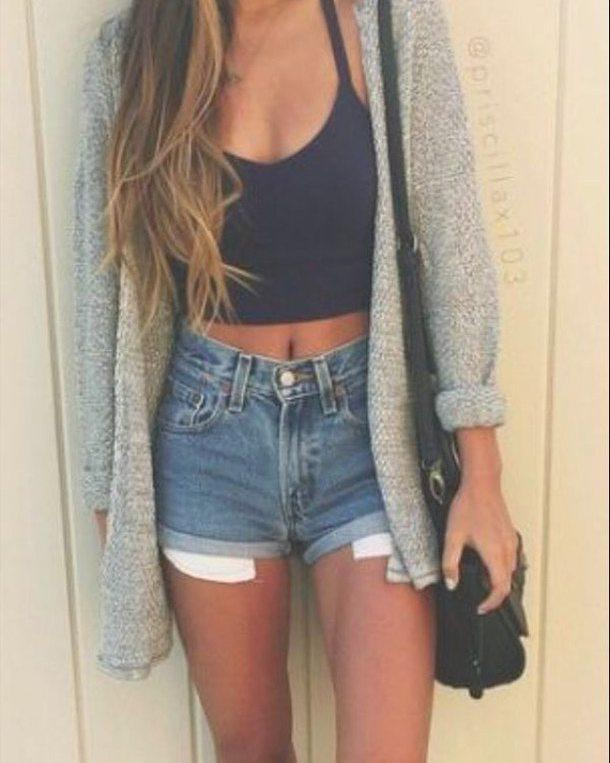 Top Outfits Shorts. Trending And Girly Summer Outfit Ideas With Denim ShortsCrop top Sleeveless  ...
