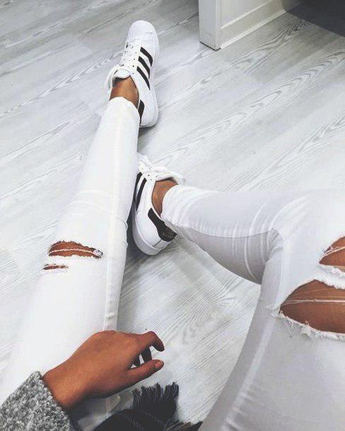 #adidassuperstar #rippedjeans #white…