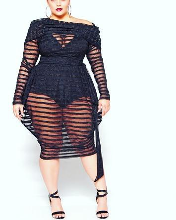 Attractive Fishnet Dress For Plus Size Woman