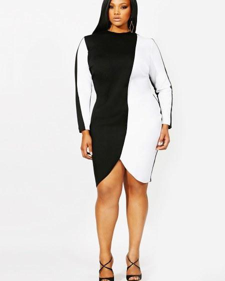 #plussize #blackandwhite #dress #elegant…