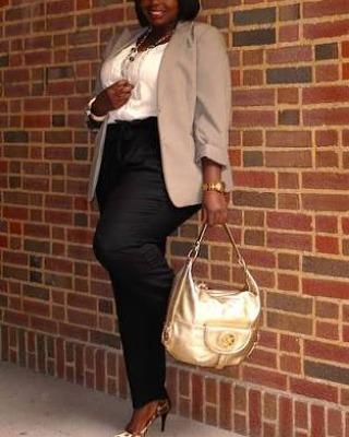 Paper bag, Plus-size model – pants, blazer, fashion, bag