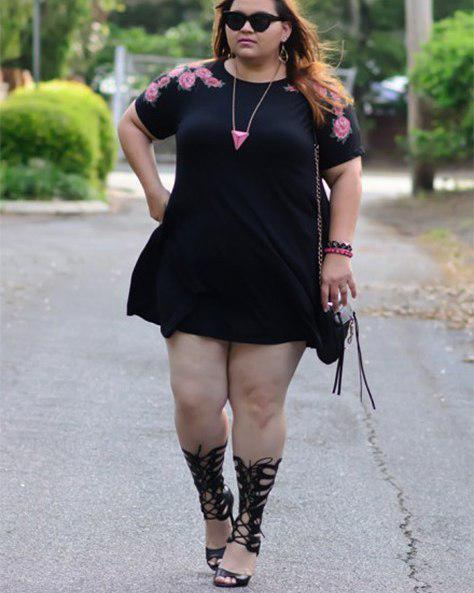 Little black dress, Plus-size clothing, Nadia Aboulhosn on Stylevore