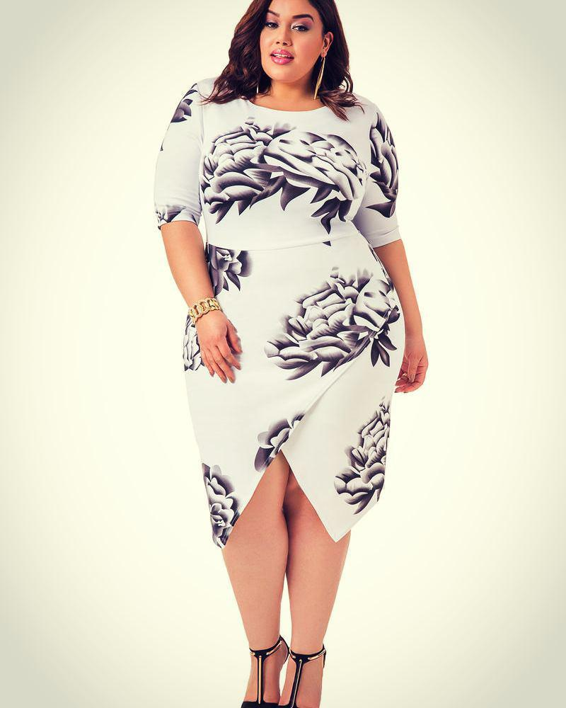 99104c2dd35 Plus size black and white party dress