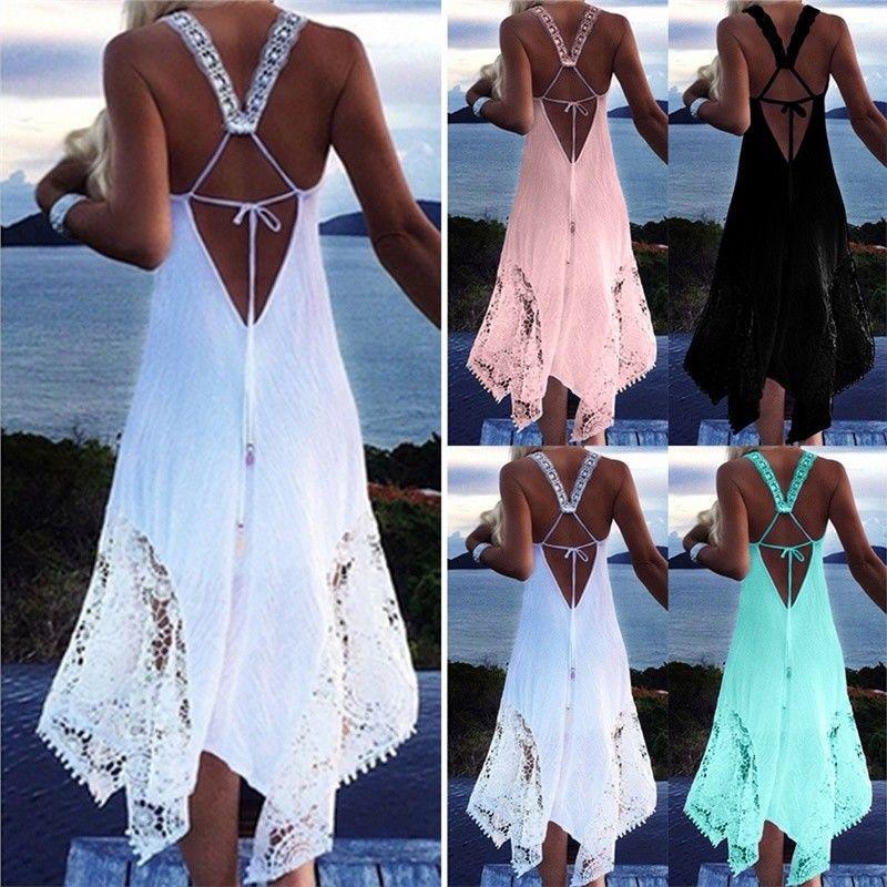 US Summer Women Sexy Backless Sleeveless Maxi Casual Beach Party Irregular Dress