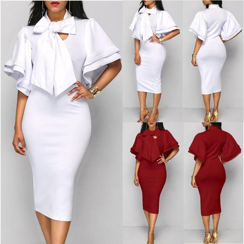 USA  Fashion Women's Bandage Bodycon Short Sleeve Club Party Cocktail Mini Dress
