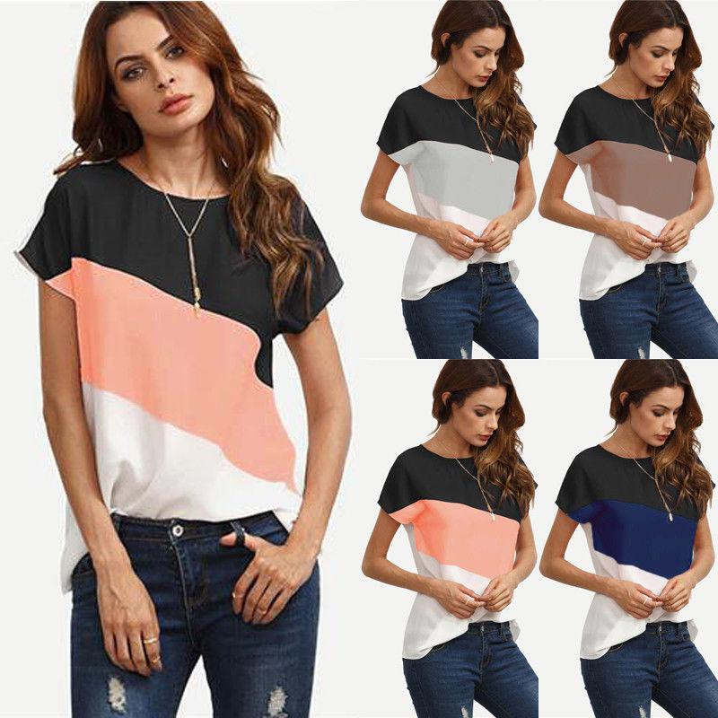 USA Fashion Womens Summer Short Sleeve Blouse T Shirt Ladies Loose Casual Tops