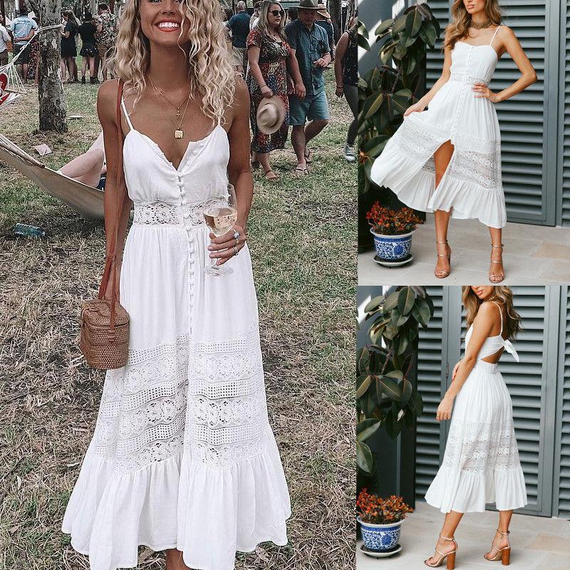 NEW Womens Summer Boho Maxi Dress Evening Cocktail Party Beach Dresses Sundress