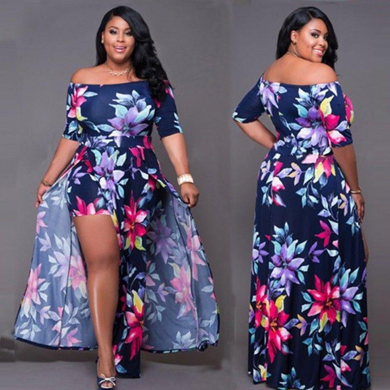 db077d1f7ff4 Summer Women Bodycon Romper Bandage Jumpsuit Playsuit Long Maxi Dress Plus  Size