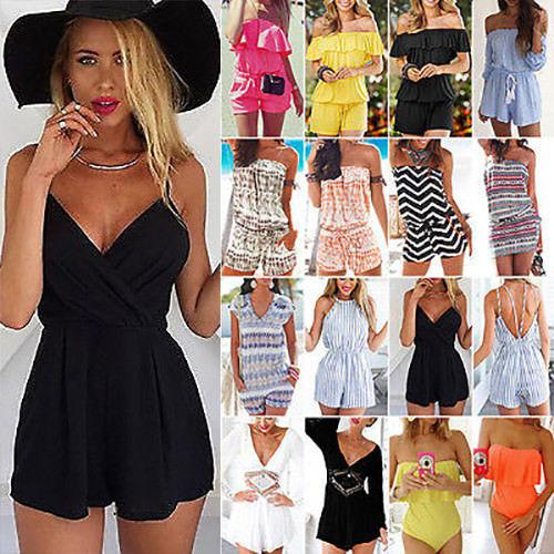 2ef5a0be113 Women Playsuit Jumpsuit Romper Ladies Mini Dress Summer Beach Dresses Hot  Summer