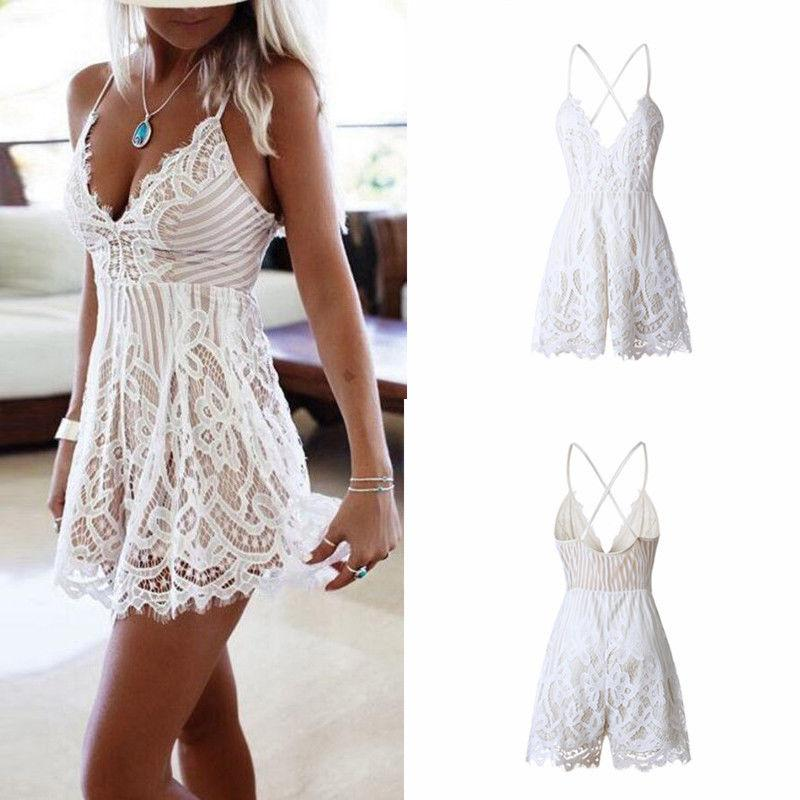 Women's Strap Deep V Collar Sexy Backless Jumpsuits Rompers Lace Casual Bodysuit