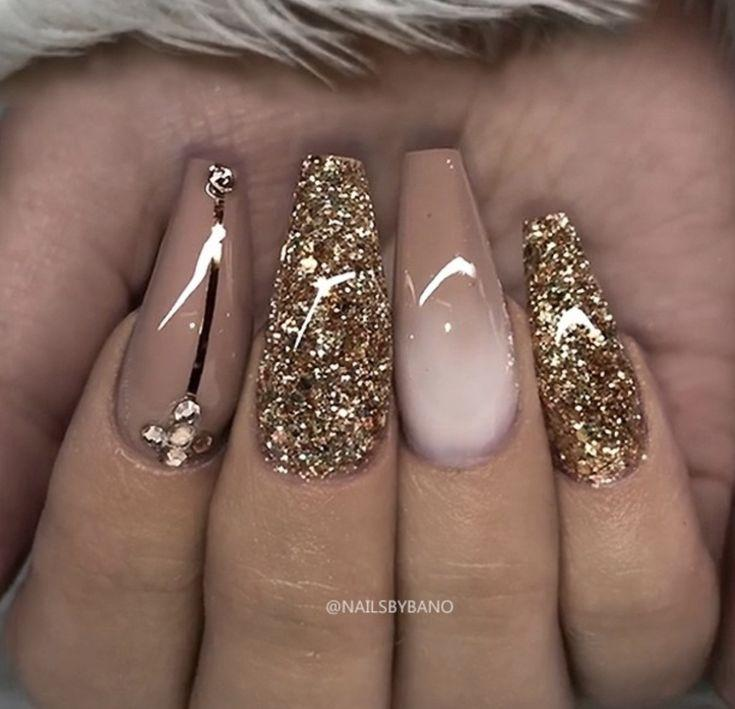 Pink and golden glitter nail designs…