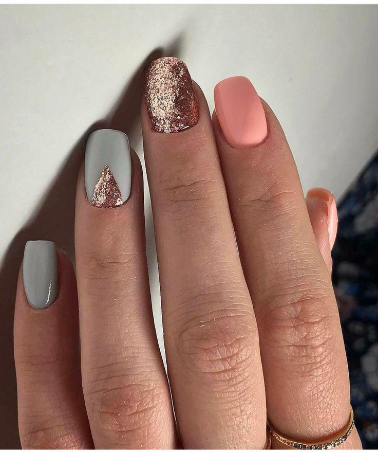 Jelly Pink and Silver Glitter Nail Design…