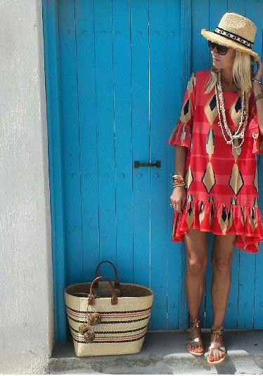 Beach Vacation Outfits : A colourful dress and straw hat and bag for a summer vacation! Perfect  ...