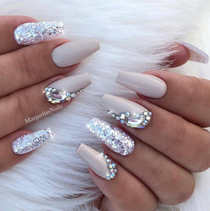 f5298bfd913 Nude coffin nails Silver glitter bling nail art design… on Stylevore