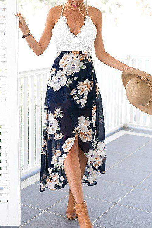 Summer dresses to wear to a wedding : Wrap Front Floral Print Maxi Dress with Lace Details -YOINS