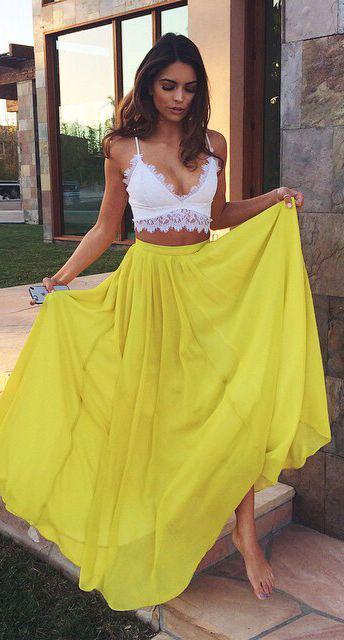 Cute Honeymoon Outfits Ideas: #street #style crochet + yellow Wachabuy
