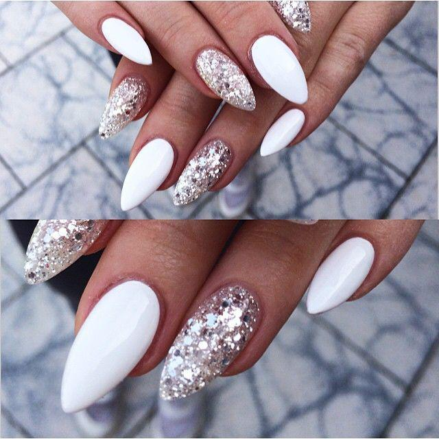Sexy Sand Sparkling Nails With Silver Ombre