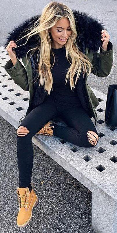 Black Jeans Outfit Ideas  fall outfits Army Jacket