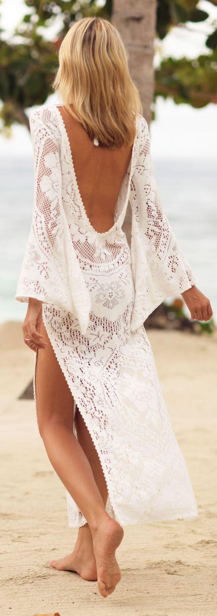 Beach Vacation Outfits : White Crochet Backless Maxi Cover Up– BEAUTIFUL for a beach vacat ...