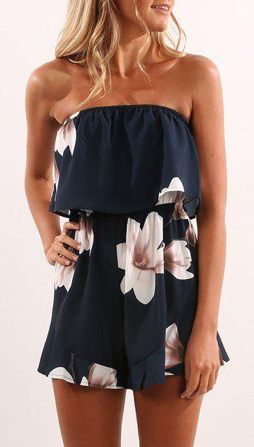 05fd48d3b0b Outfits Ideas for Tall Girls   spring  outfits Navy Floral Off The Shoulder  Romper