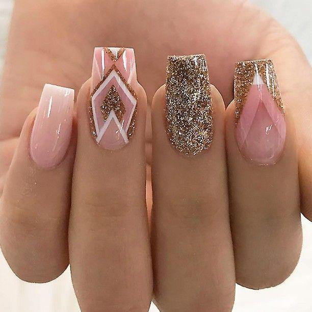 Soft Pink Gold Glitter Ombre and Geometric Designs