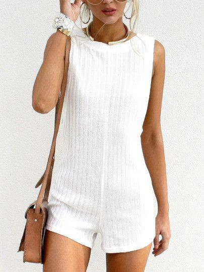 Cute Honeymoon Outfits Ideas: crew neck romper, preppy playsuit, white outfit, summer outfit &#8 ...
