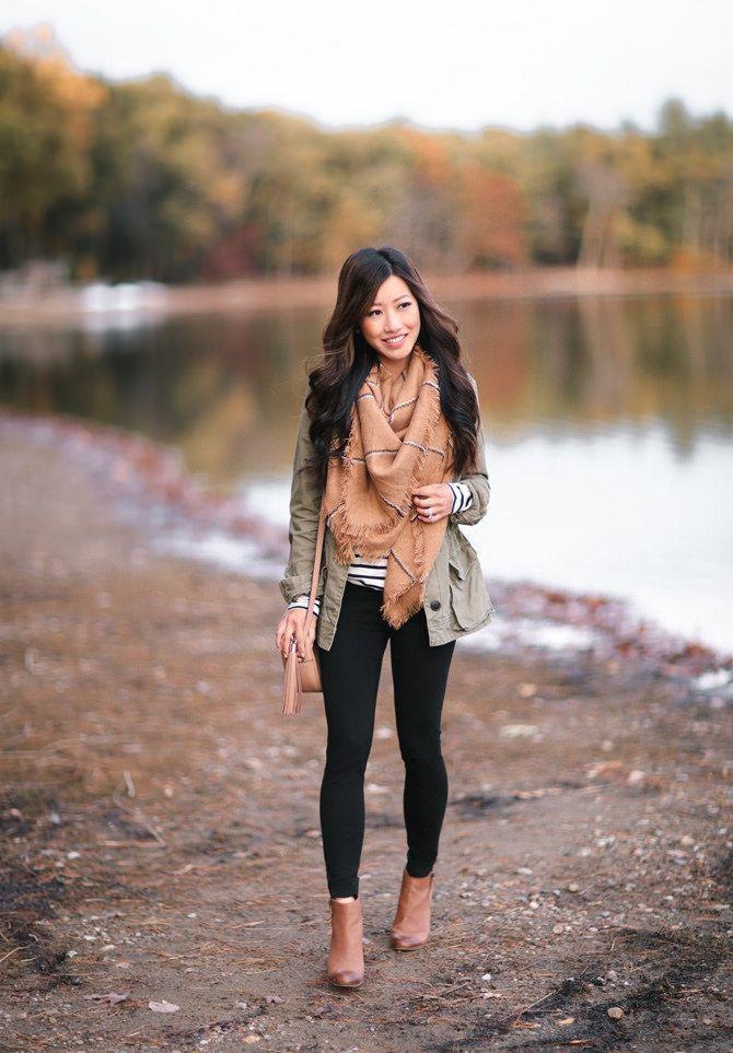 3b3fd8d9bb36d nice utility jacket + striped tunic tee + leggings    fall casual outfit  idea by