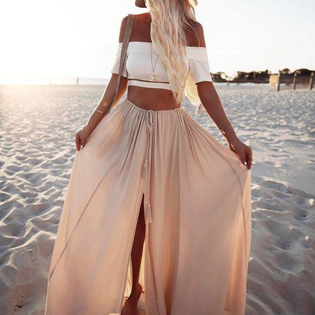 Hot Honeymoon Outfits: OUR DREAM OUTFIT! Low and Behold Crop Top + Against The Tides Maxi Skirt  ...