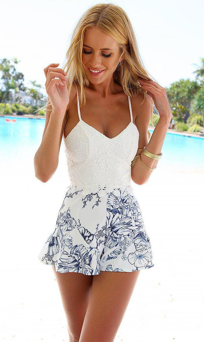 Cute Honeymoon Outfits Ideas: White with Printed Floral Romper