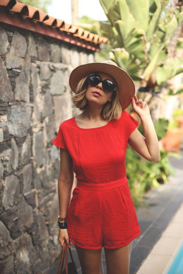 Beach Vacation Outfits : A cute outfit option for a summer beach vacation– a bright red ju ...