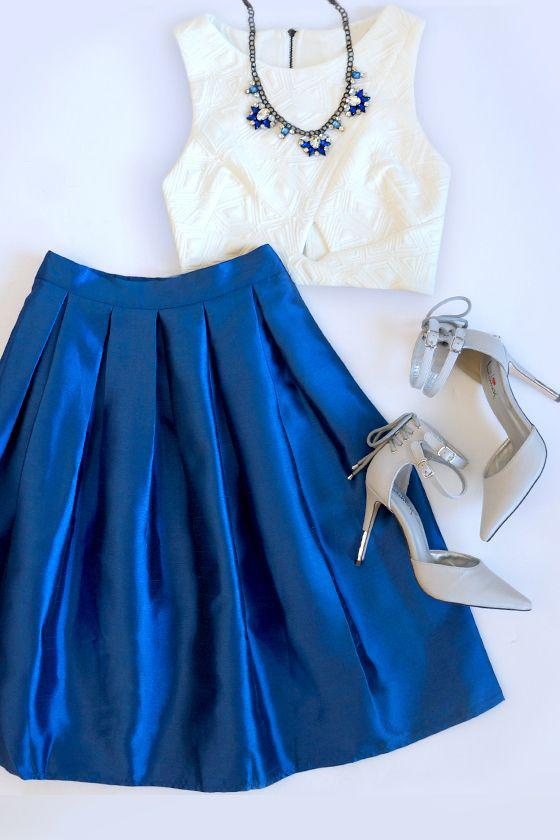 Summer dresses to wear to a wedding : Boxed In Royal Blue Pleated Skirt