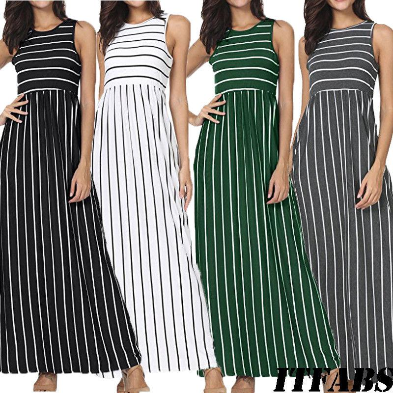 17365c0727929 Fashion Women's Summer Sleeveless Striped Pockets Flowy Casual Long Maxi  Dress