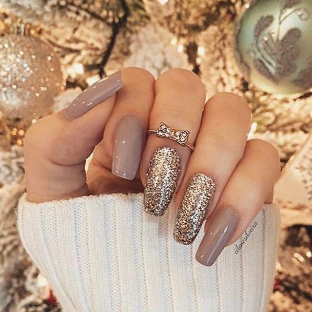 Mix and match gold glitter nude nail polish…