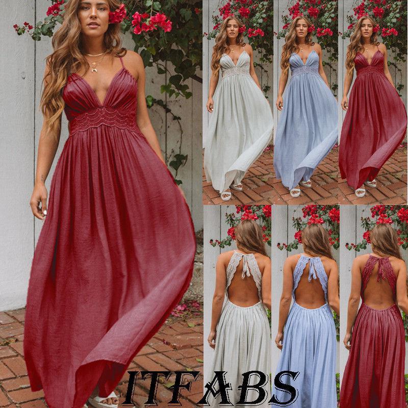 bbd9992b82a7 ITFABS Women s BOHO Long Maxi Evening Cocktail Party Summer Beach Dress  Sundress