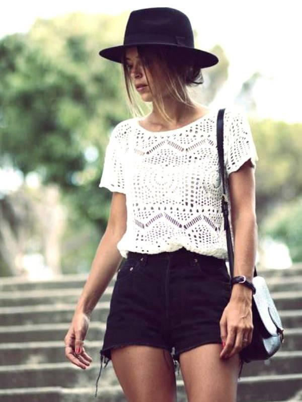 Lace Top + Black Cutoff Shorts