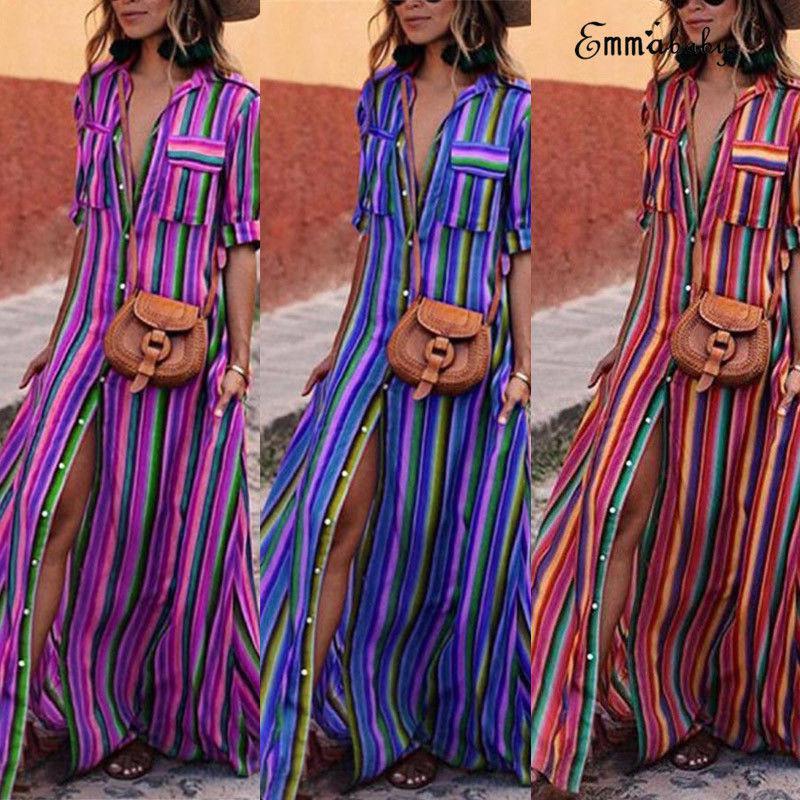 US Sexy Women Party Cocktail Stripe Split Front Maxi Beach Dress Plus Size