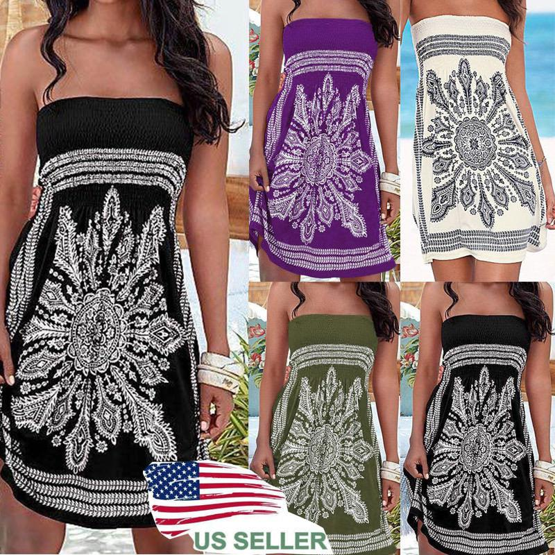US Women Summer Vintage Boho Short Maxi Dress Party Beach Dress Floral Sundress