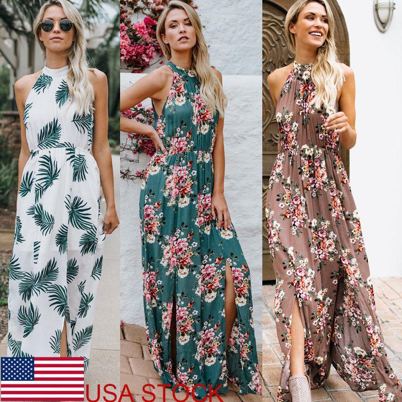 USA Women's Floral Boho Maxi Halter Dress Beach Party Sleeveless Summer Dress