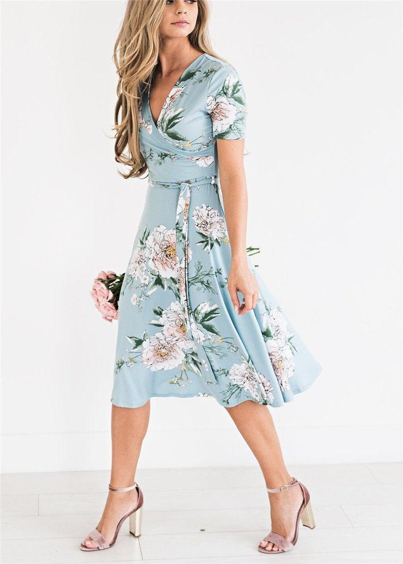1ee5423715bd Women Floral Print Short Sleeve Dress Ladies Boho Long Maxi Summer Evening  Party