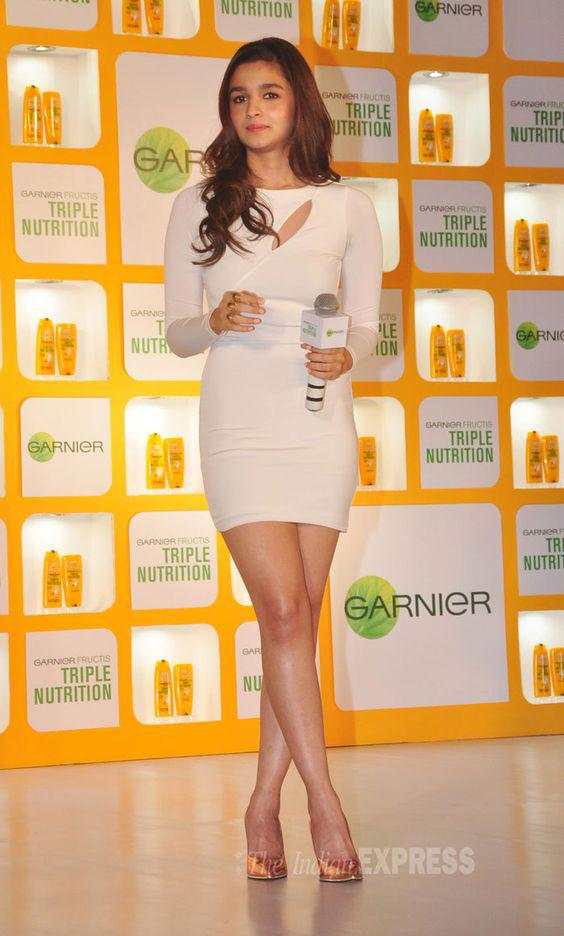 Alia Bhatt showed off her figure in a sexy white Arden B body-con mini dress.