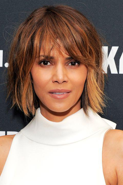 For Halle Berry's fringed shag, use pomade to give your style a pieced look.