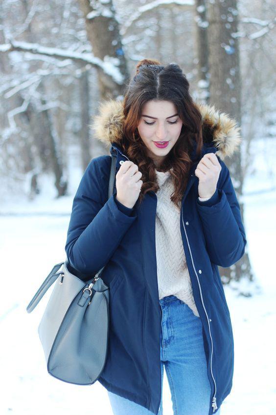 5ee336c1c7 Bomboogie navy blue parka winter jacket coat fake fur navy blue mango  sweater pink mom jeans