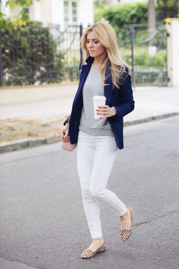 111b7bc10b White jeans with patterned flats and a blazer. on Stylevore