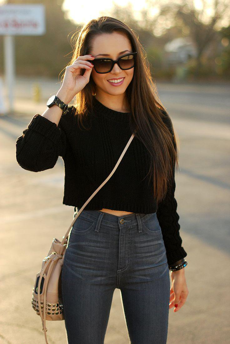 For a really easy street style look that's perfect for early fall, a cropped sweater worn with y ...