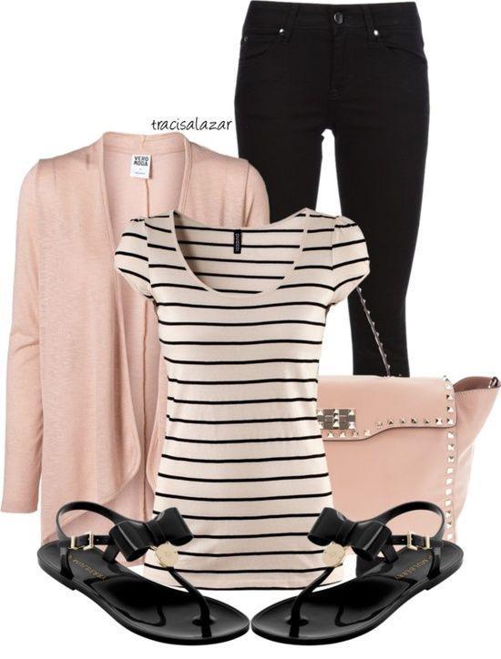 Black striped white T-shirt and black flat thong sandals…