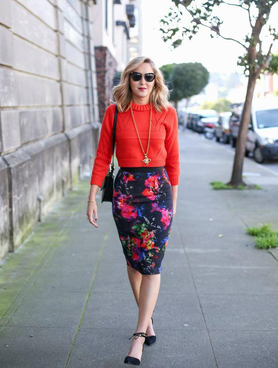 Keep a fitted cropped sweater professional by wearing it with a high-waist pencil skirt.