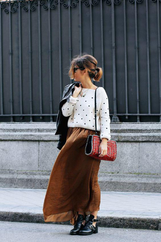 Make a maxi skirt work for winter by wearing it with a cropped sweater and ankle boots.